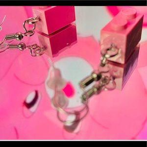light pink LEGO earrings